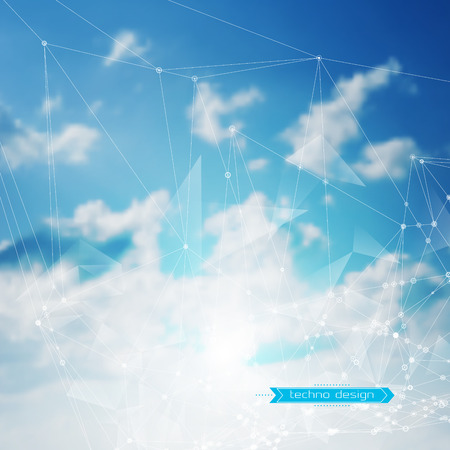 heaven: Abstract Geometric Polygonal Shape. Vector Science Background. Futuristic Technology Background. Connecting Dots and Lines Structure. Clouds Heavens Background