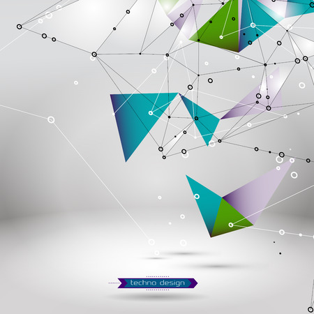 Abstract Geometric Polygonal Shape. Vector Science Background. Futuristic Technology Background. Connecting Dots and Lines Structure Illustration
