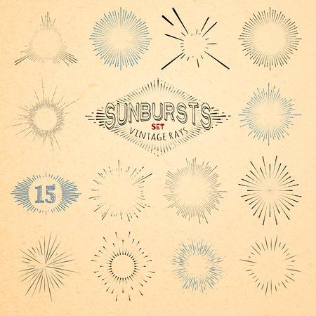 circle design: Set of Retro Sun Burst Shapes. Vector Collection of Trendy Hipster Sunburst Design Elements. Bursting Sun Rays Frames. Light Ray Vintage Style Frames