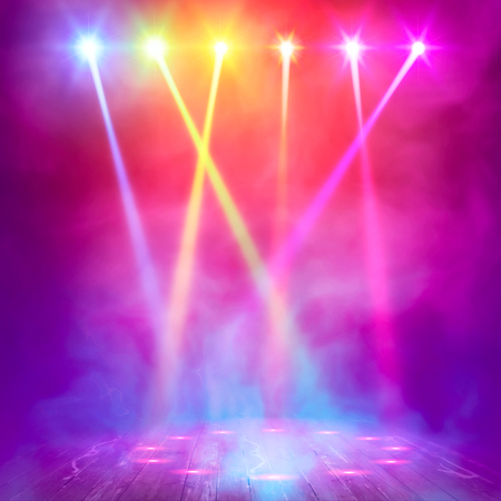 light show: Background in show. Vector interior shined with a projector