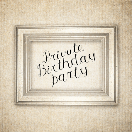 private party: Hand drawn sketch of the books with handwritten text Private Birthday Party. Vintage interior. Retro background