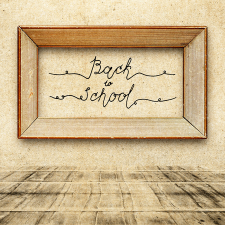 floorboards: Hand drawn sketch of the books with handwritten text Back To School. Vintage interior. Retro background