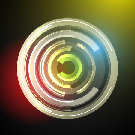 Techno Geometric Vector Circle Modern Science Abstract Background