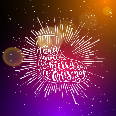 night club interior: Show background. Merry Christmas Brush Script Style Hand lettering. Smoky vector stage interior shining with light from a projector