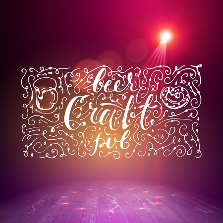 night club interior: Show background. Beer Craft Pub Brush Script Style Hand lettering. Smoky vector stage interior shining with light from a projector