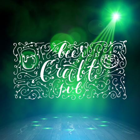 Show background. Beer Craft Pub Brush Script Style Hand lettering. Smoky vector stage interior shining with light from a projector