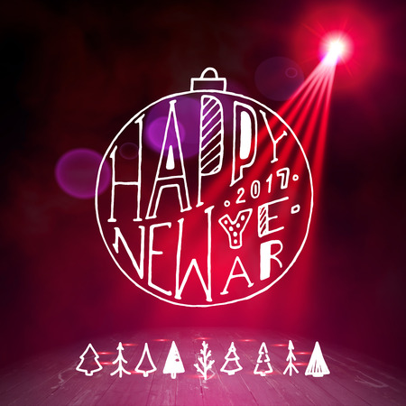 Show background. Happy New Year Holiday Party Brush Script Style Hand lettering. Smoky vector stage interior shining with light from a projector Illustration