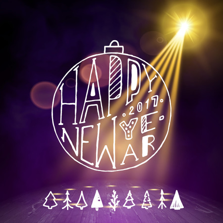 night club interior: Show background. Happy New Year Holiday Party Brush Script Style Hand lettering. Smoky vector stage interior shining with light from a projector Illustration
