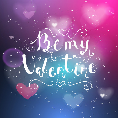 night club interior: Be my valentine hand written lettering positive quote, calligraphy poster vector illustration. Valentines Day Card Calligraphy. Background in show. Vector interior shined with a projector