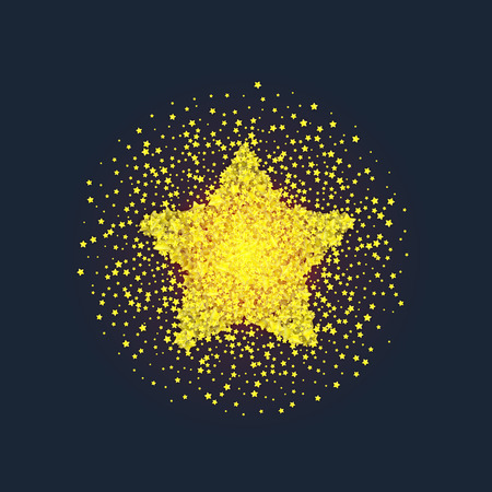 privilege: Golden star vector banner on the background. Gold template star for banner, vip card. Star Dust. Stardust spark the explosion on background. Vector illustration 3D