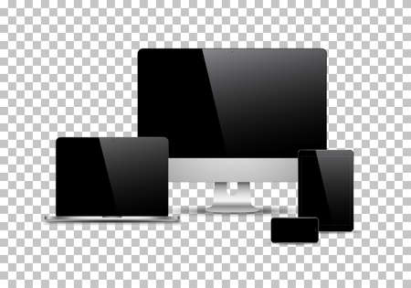 Set of realistic computer monitors, laptops, tablets and mobile phones. Electronic gadgets isolated on white background