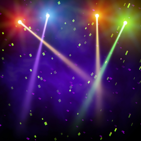 floodlight: Studio backdrop with confetti. Background show carnival. The black smoky interior is illuminated by the rays of light. Vector illustration.
