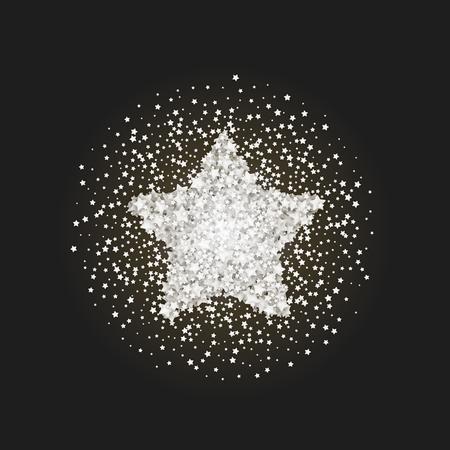 privilege: Vintage star vector banner on black background. Retro glitter star. White template star for banner, vip card. Star Dust. Stardust spark the explosion on background. Vector illustration 3D