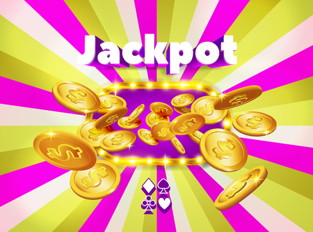 Word Jackpot, above a light frame with coins appearing from it, on a pink and green retro background. The luck banner, for gambling, casino, poker, slot, roulette or bone. Illustration