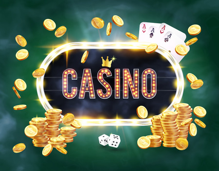 The word Casino, surrounded by a luminous frame and attributes of gambling, on a green background. The new, best design of the luck banner, for gambling, casino, poker, slot, roulette or bone.
