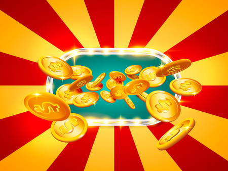 Jackpot Banner. Gold coins in flight. The coin icon with shadows. 3d realistic vector, EPS 10