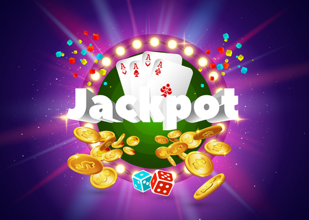 The word Jackpot, surrounded by a luminous frame and attributes of gambling, on a pink and green retro background. The luck banner, for gambling, casino, poker, slot, roulette or bone. Illustration