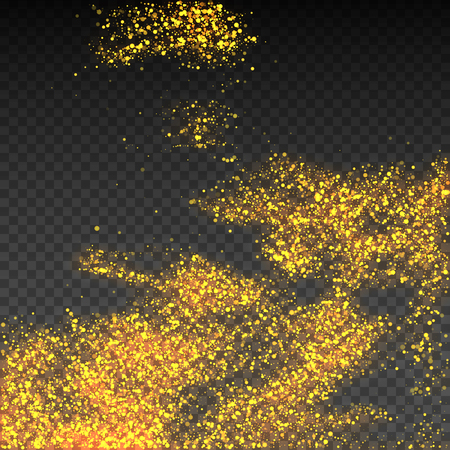 Particles of golden shine on a transparent background. Vector texture of golden dust. Flickering confetti, twinkling star lights. A magical glowing spray of spray. The cosmic brilliance of the galaxy for the d?cor