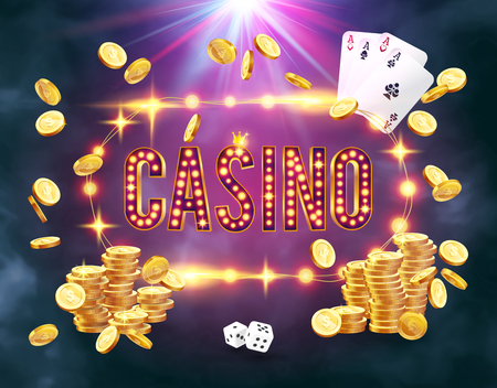 The word Casino, surrounded by a luminous frame and attributes of gambling, on a explosion background. Illustration