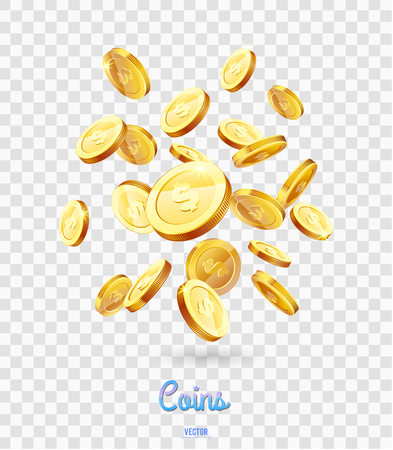 Realistic Gold coins falling down. Isolated on transparent background. Vettoriali
