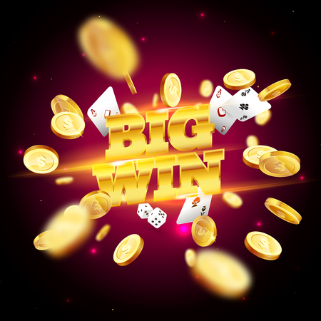 The word Big Win, with gambling elements on a coloured background.