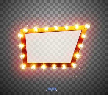 Glowing lights retro for advertising design. Special light effects. Vector Background show. Realistic Vintage frame. 3D