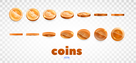 A set of bronze coins. Realistic ten coins from different angles of view. Isolated on white. For your online casino design Illustration