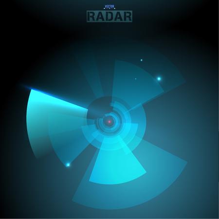 Abstract futuristic HUD radar display. Sci-fi design elements. Vector navigation interface background. Vektorové ilustrace