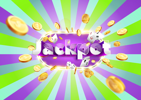 The word Jackpot, surrounded by a luminous frame and attributes of gambling, on a pink and green retro background. The luck banner, for gambling, casino, poker, slot, roulette or bone. Vectores