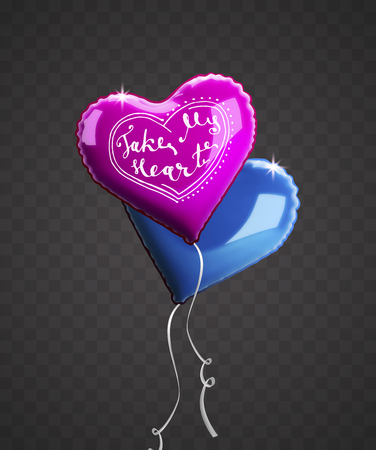 Greeting inscription on a pink heart-shaped balloon. Vector holiday illustration on a transparent background. Happy Valentine's Day