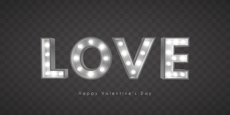 Vintage Retro-Buchstaben mit Glühlampen. Das Wort Liebe. Valentinstag. EPS 10
