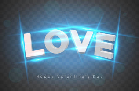 Modern 3d letters with incandescent lamps. The word love. Valentine's Day. EPS 10 Ilustração