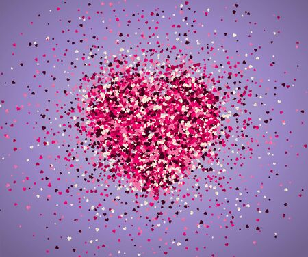 Confetti of hearts on a purple background. Valentines Day. Vector holiday illustration. Illustration