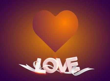 Cadre rétro en forme de coeur avec lampes à incandescence vintage. Amour de mot 3D avec ruban sur un coeur. Fond de petits coeurs en papier volant. Illustration vectorielle. Toile de fond de la Saint-Valentin.