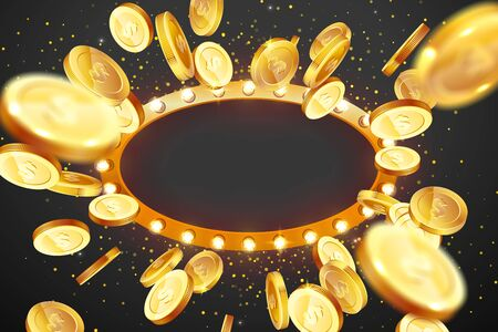 Vector illustration of an explosion of gold coins in a retro frame. Vintage frame with incandescent lamps. Background for the casino.