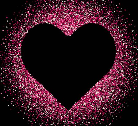 Confetti of hearts on white background. Valentines Day.