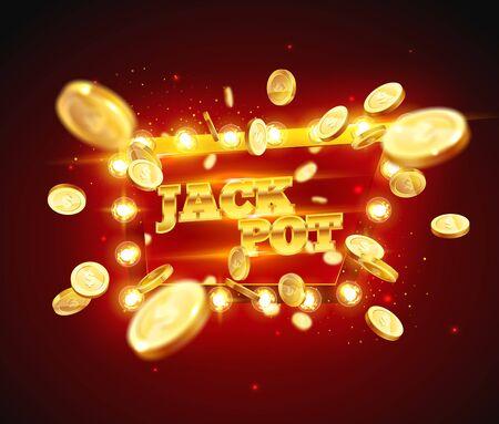 La palabra Jack Pot, rodeada por un marco luminoso sobre un fondo de explosión de monedas. El nuevo y mejor diseño del banner de la suerte, para juegos de azar, casino, póquer, tragamonedas, ruleta o hueso.