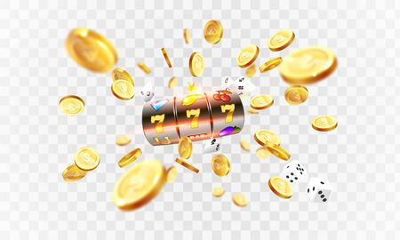 Golden slot machine wins the jackpot 777 on transporent background of an explosion of coins. Vector illustration Illustration