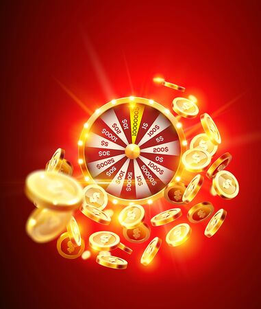 Vector illustration spinning fortune wheel on explosion of gold coins background and with light spotlights. Realistic 3d lucky roulette. Ilustracja