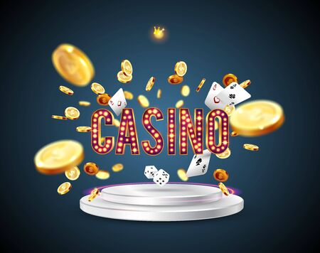 The word Casino, surrounded by a luminous frame and attributes of gambling, on the podium, on a explosion coins background. The new, best design of the luck banner, for gambling, casino