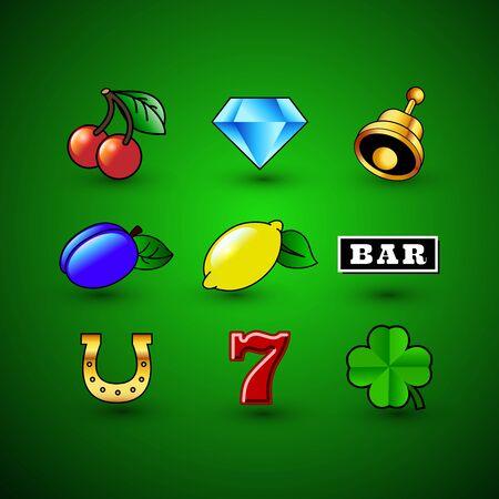 Casino Icons vector illustrations. Slot machine symbols set