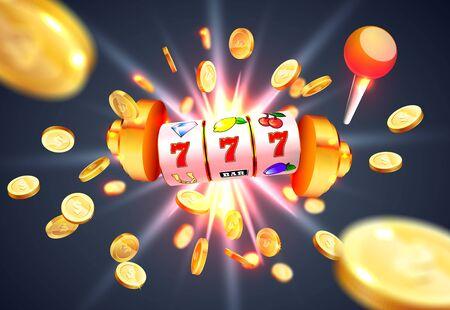 Goldener Spielautomat gewinnt den Jackpot 777 vor dem Hintergrund einer Explosion von Münzen. Vektor-Illustration Vektorgrafik