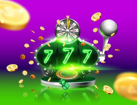 Golden slot machine wins the jackpot 777 , surrounded by a luminous frame and attributes of gambling, explosion golden coins, on the podium, on the dark background. The new, best design of the luck banner, for gambling, casino