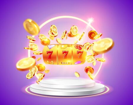 Golden slot machine wins the jackpot 777 on background of an explosion of coins and retro frame. Vector illustration. Round podium and glowing frame illuminated by spotlights.  イラスト・ベクター素材