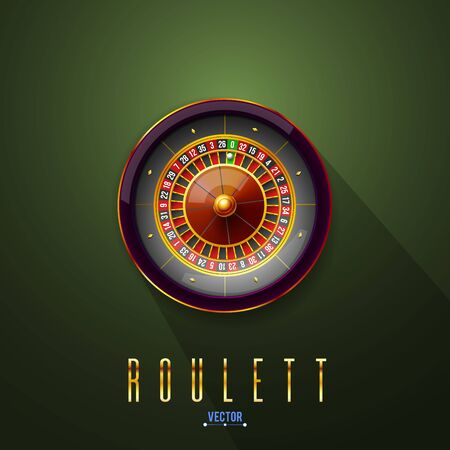 Vector illustration gambling roulette wheel. Realistic concept design for casino