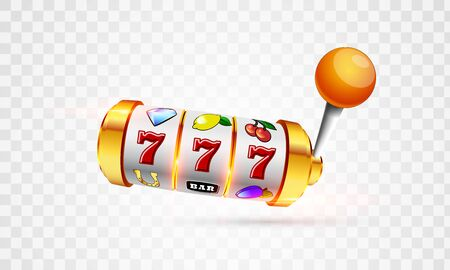 Vector illustration slot machine with lucky three sevens jackpot in realistic style on transparent background Ilustracja