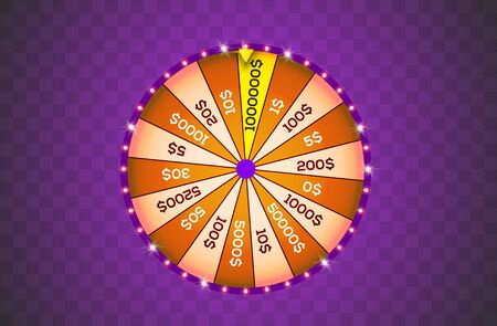 Vector illustration spinning fortune wheel on transparent background. Realistic 3d lucky roulette. Online casino Illustration