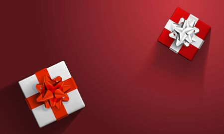 Gift boxes with shiny colorful and on red Background. Vector festive illustration. Top view. Decoration element for the holidays Фото со стока - 134876578