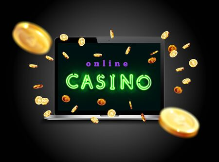 The blue neon word Casino Surrounded by attributes of gambling, on a explosion coins background. Bright banner for online casinos, poker, roulettes or slots. Coins are falling from the laptop.