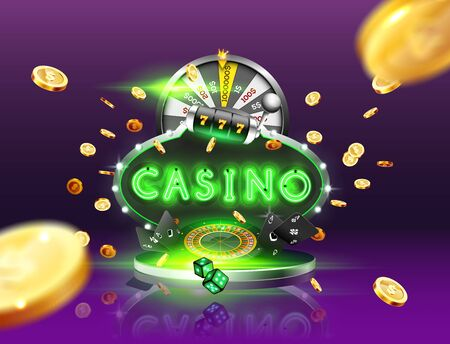 The blue green word Casino, surrounded by a luminous frame and attributes of gambling, explosion golden coins, on the podium, on the dark background. The new, best design of the luck banner, for gambling, casino